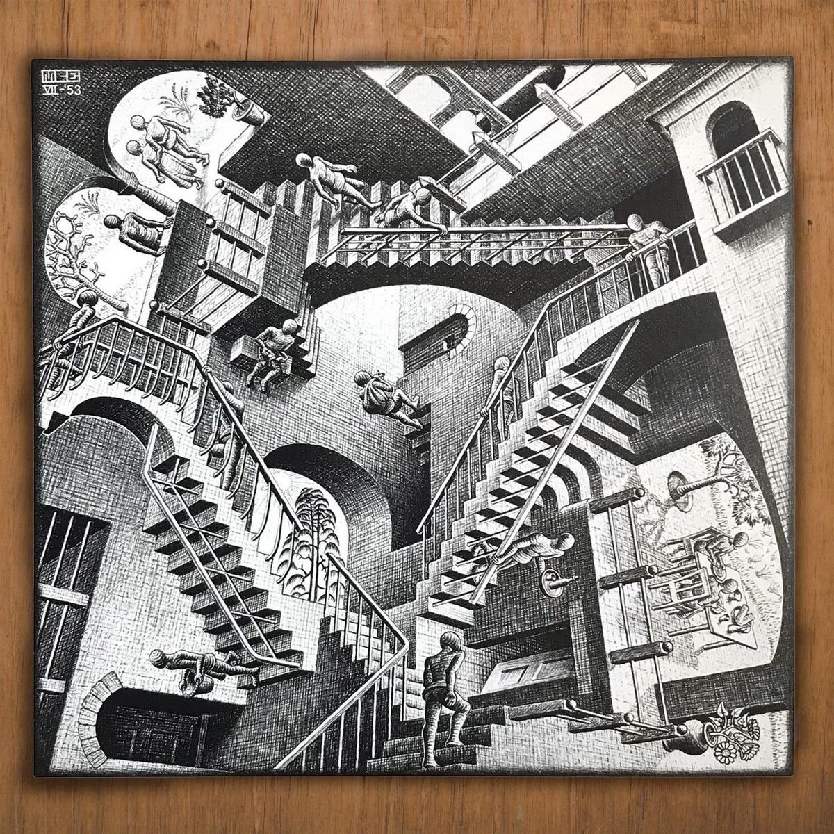 """M.C. Escher, """"Relativity,"""" July 1953, Lithograph"""