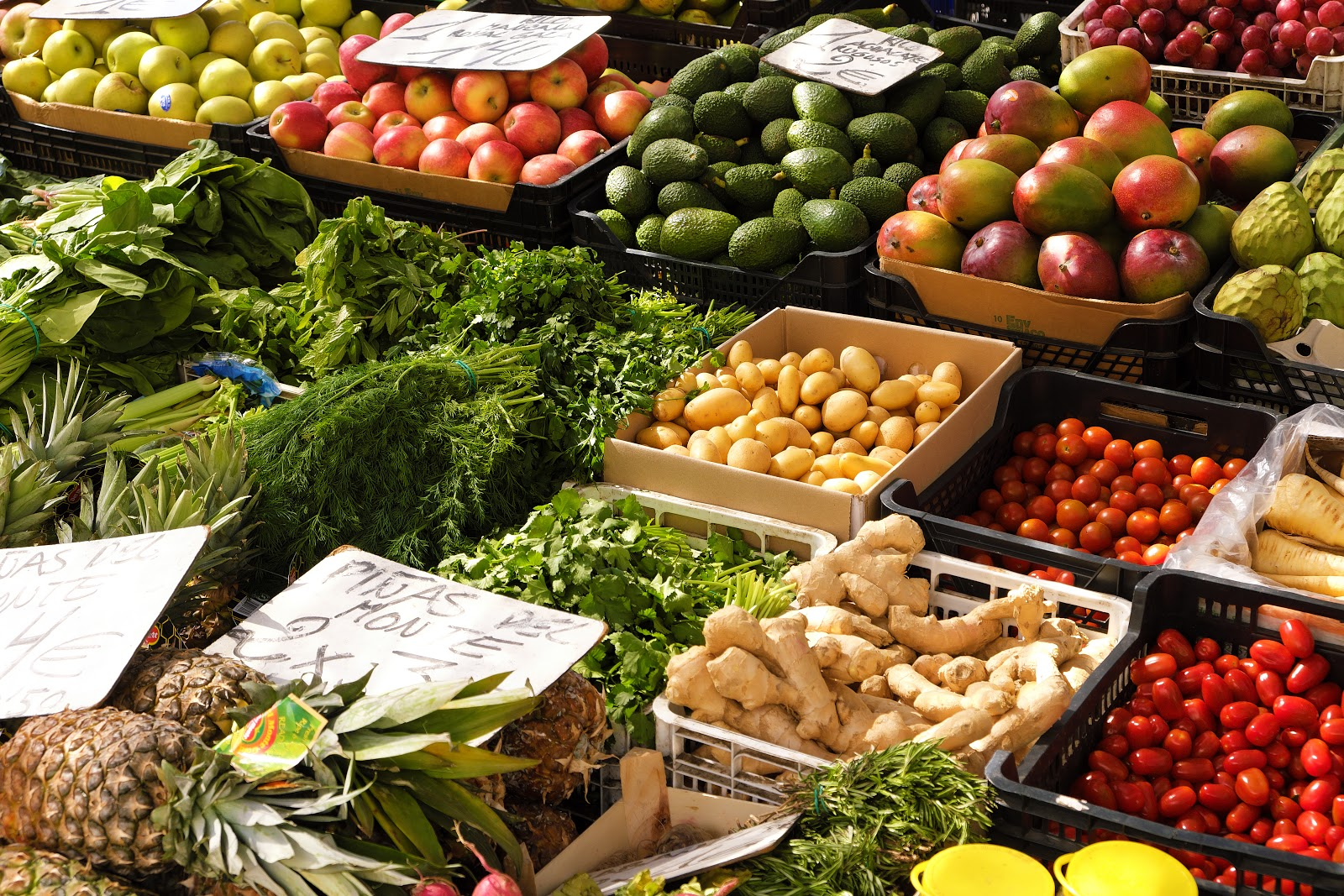 fruits and vegetables for sale in the market