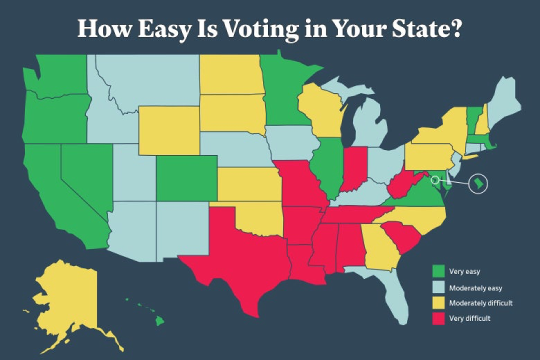 Slate Map on Voting Ease of Each State