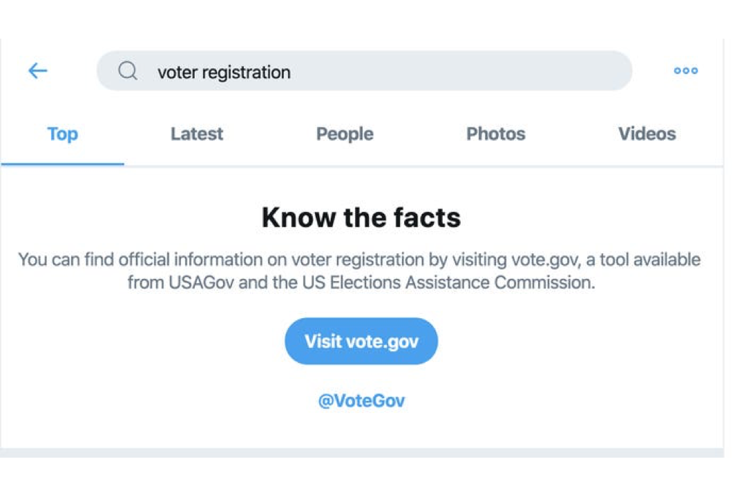 Twitter Search Function Includes vote.gov Resource
