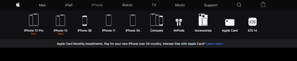 design of the navigation bar on the Apple website