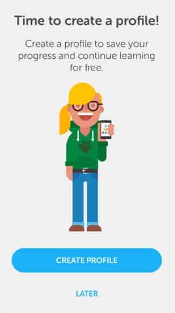 Duolingo create a profile page design example
