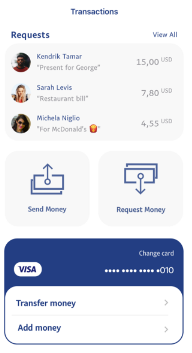 PayPal transactions screen UX design