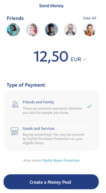 PayPal send money screen UI UX design
