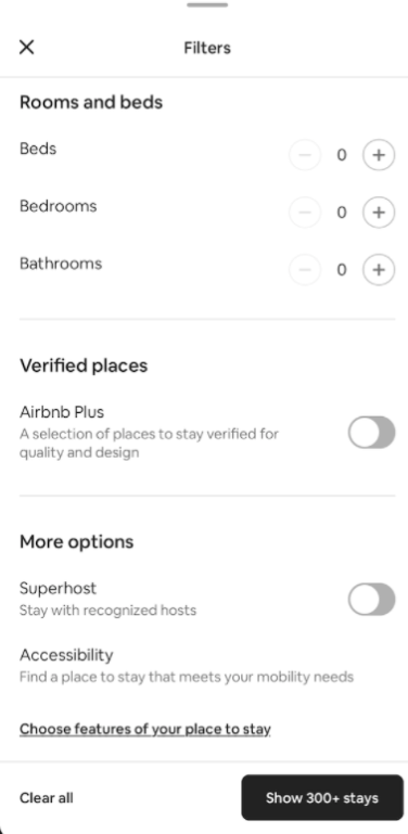Airbnb filters UI UX design