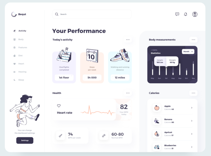 easy to use dashboard design with illustrations and clear UI