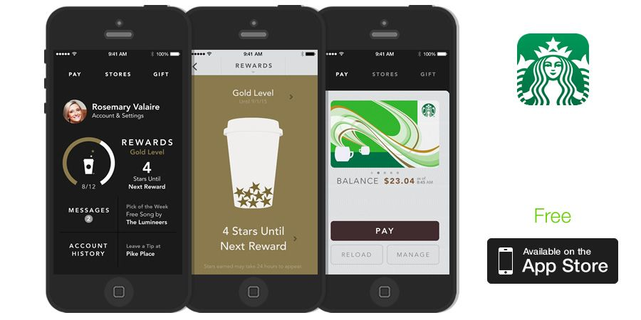 Application interface design examples: Starbucks