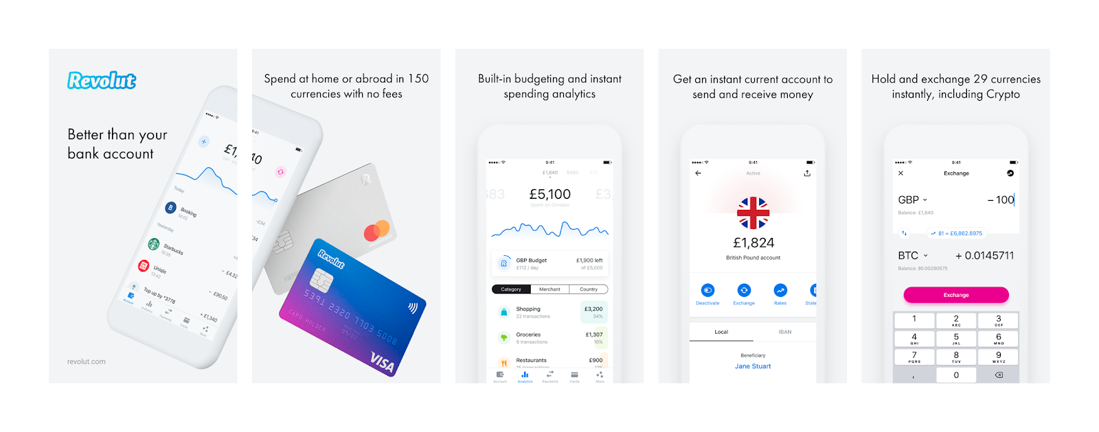 Application interface design examples: Revolut