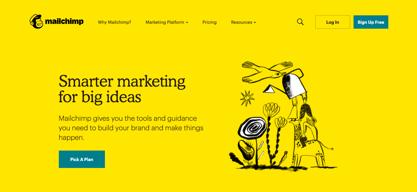 Mailchimp is one of the best SaaS websites