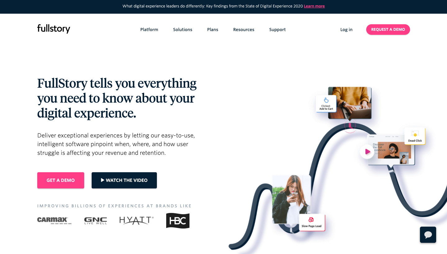 Fullstory is a SaaS website with great user experience