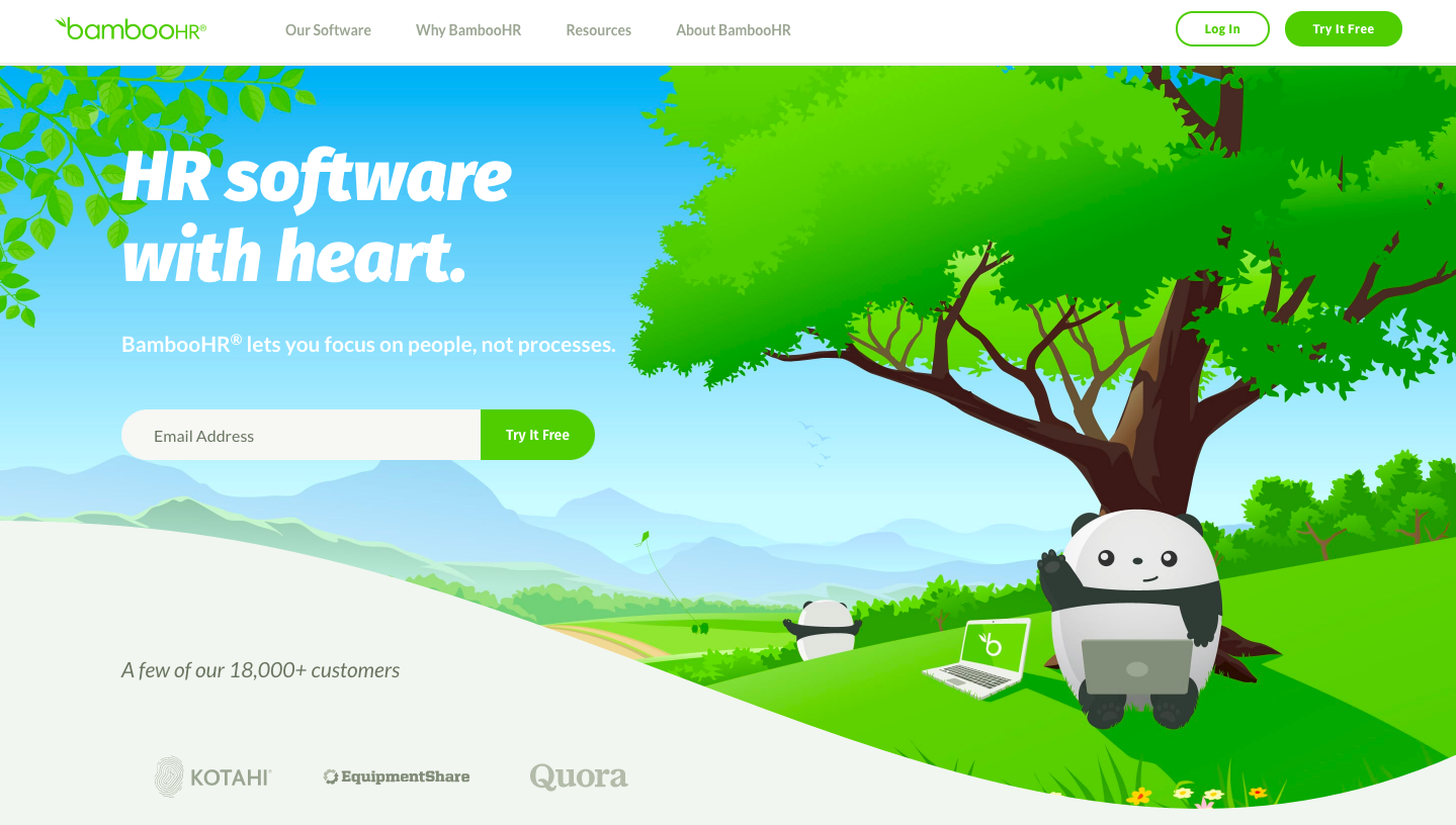 Bamboohr is an example of great design of SaaS website