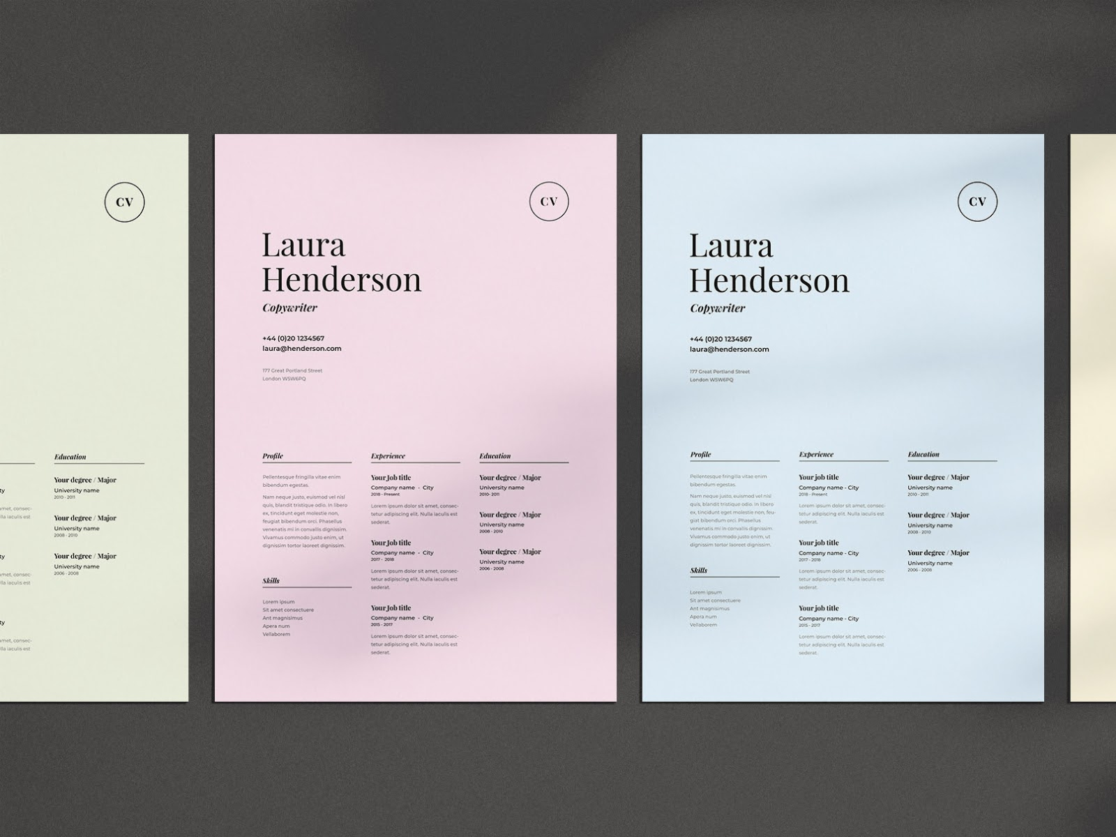 nice use of color in design resume