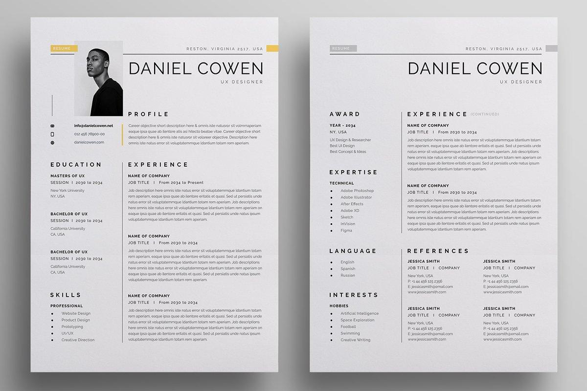 ux designer CV layout example