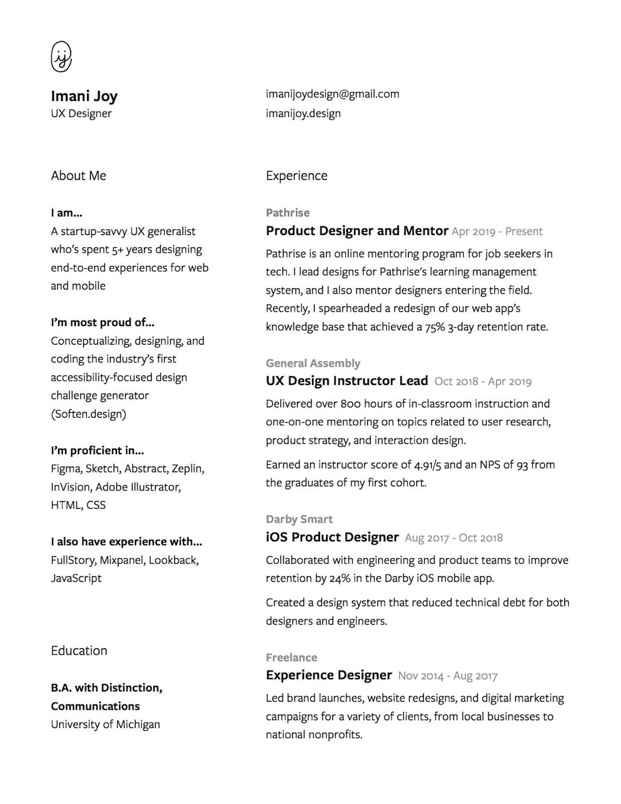black and white design resume example for UX designer