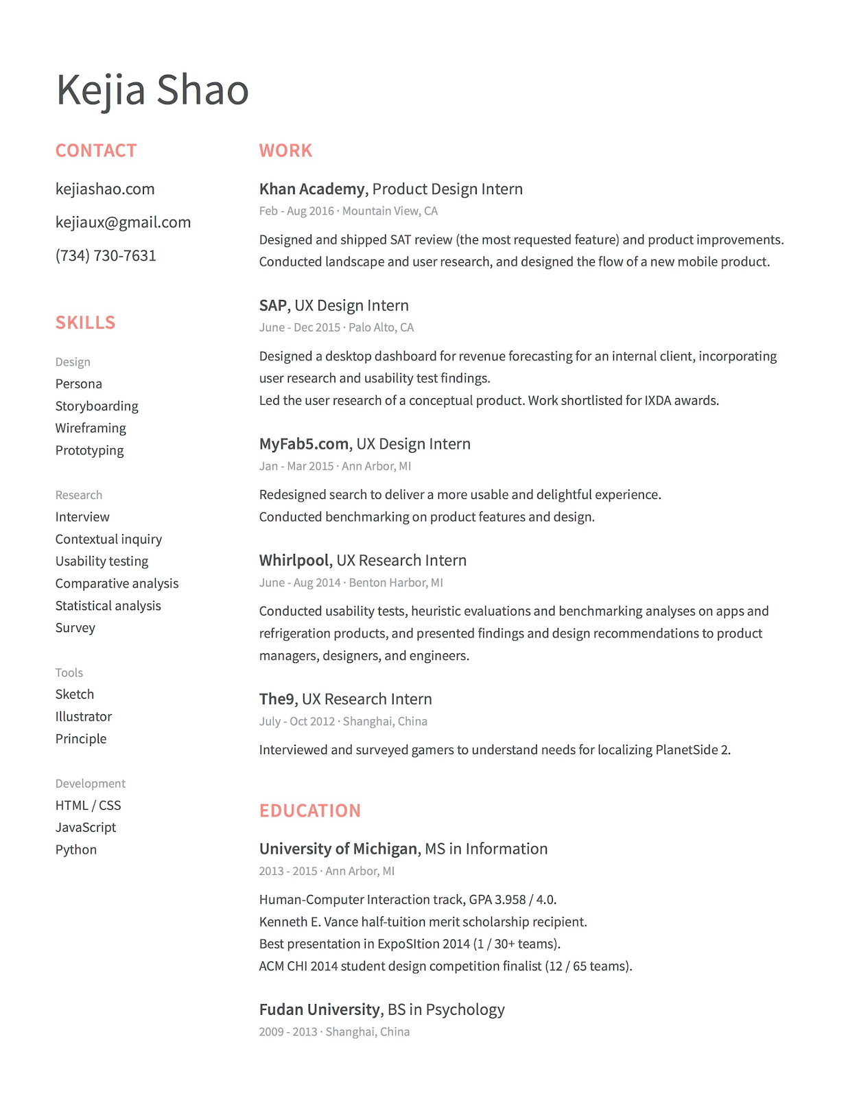 simple design of resume for product designer