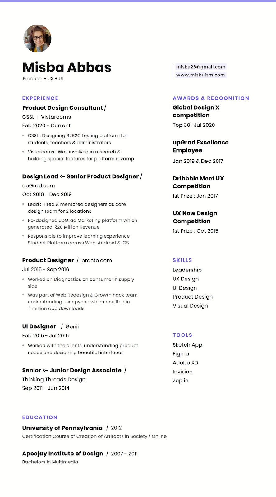 product designer resume with skills and tools