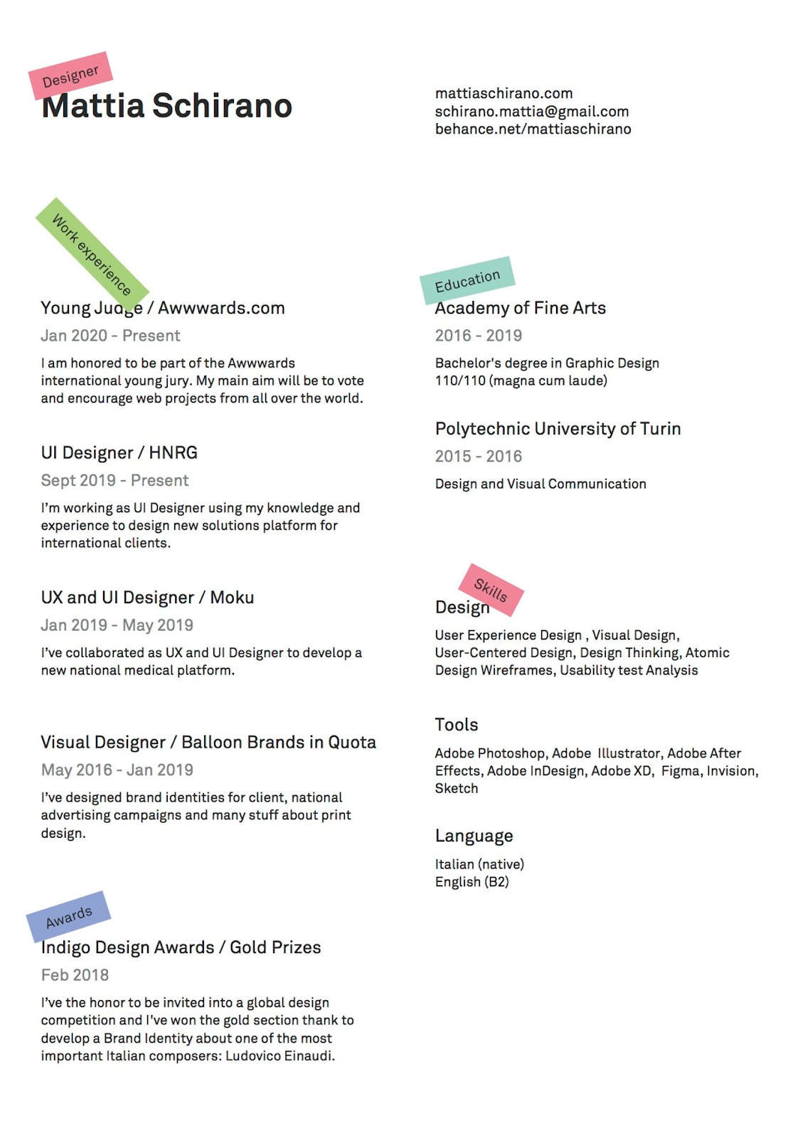 clean design resume example