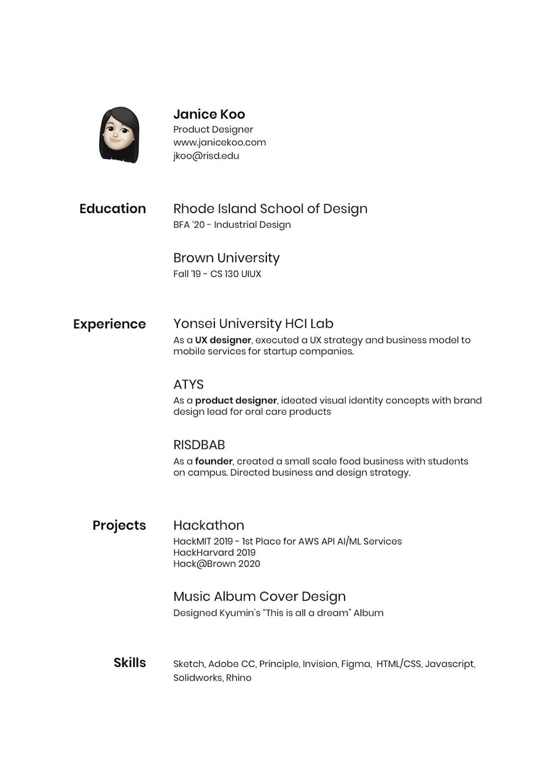 minimalist CV design