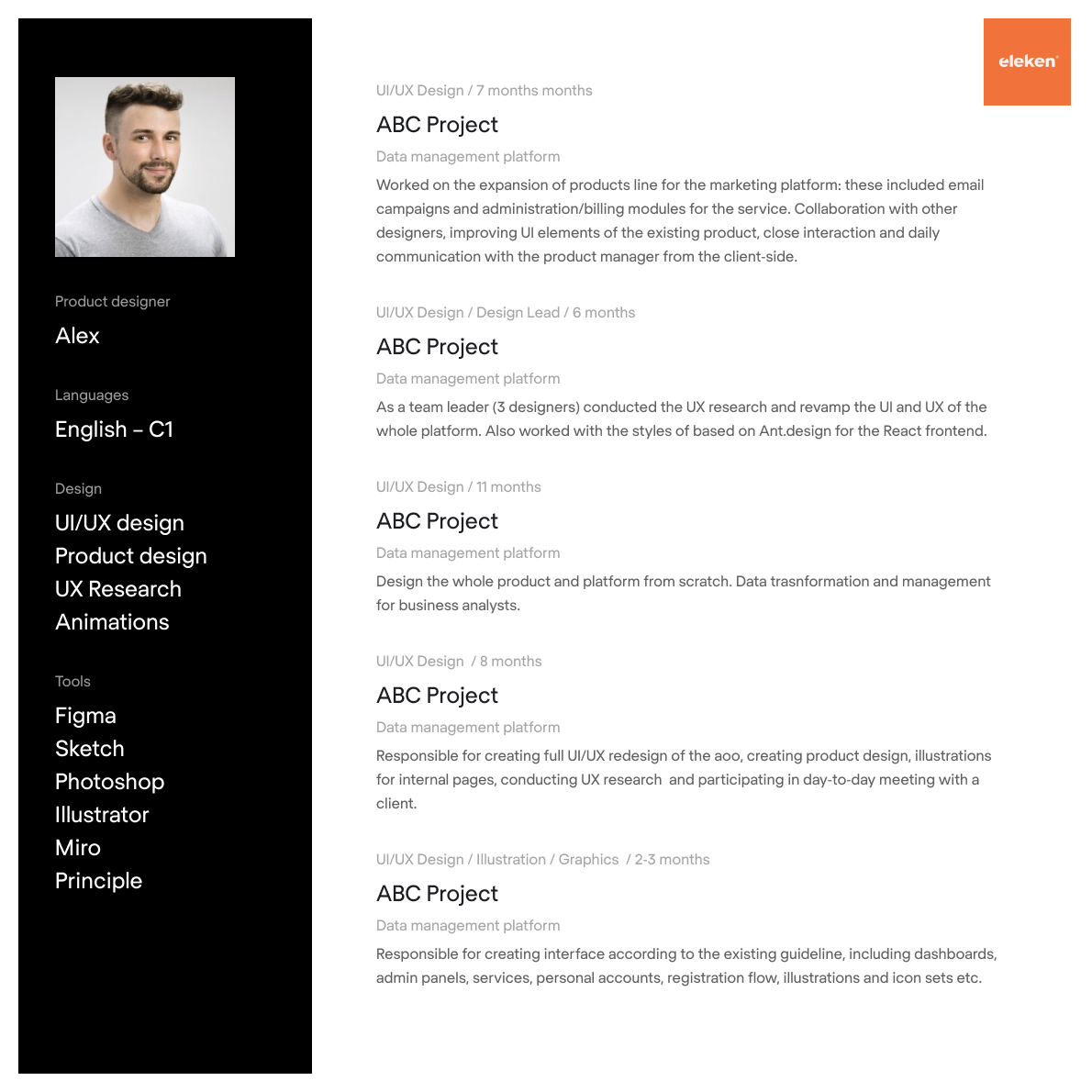CV example of a product designer