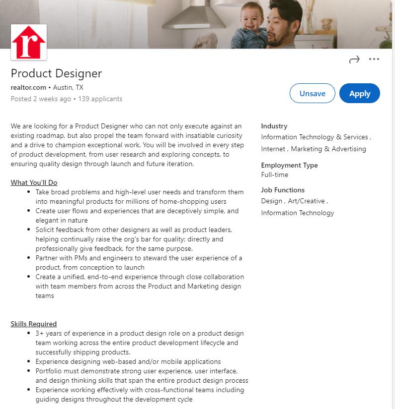 example of a product designer job description