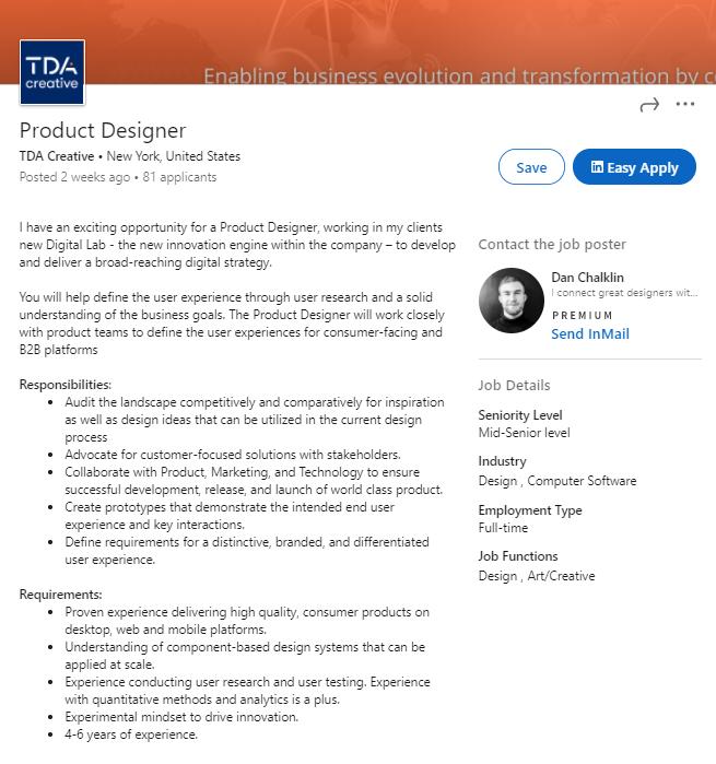 product designer job description example