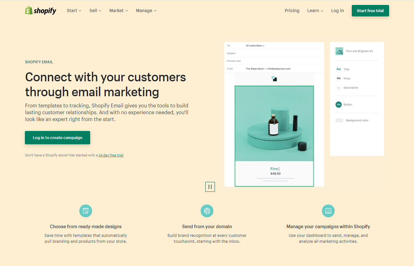 usable web design of Shopify