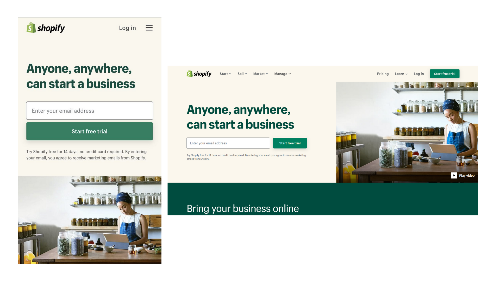 Shopify's website as an example of a responsive design