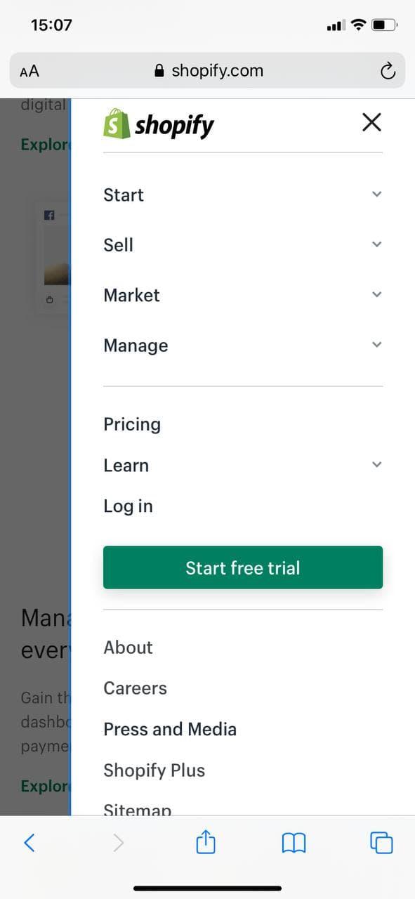 responsive mobile navigation of Shopify