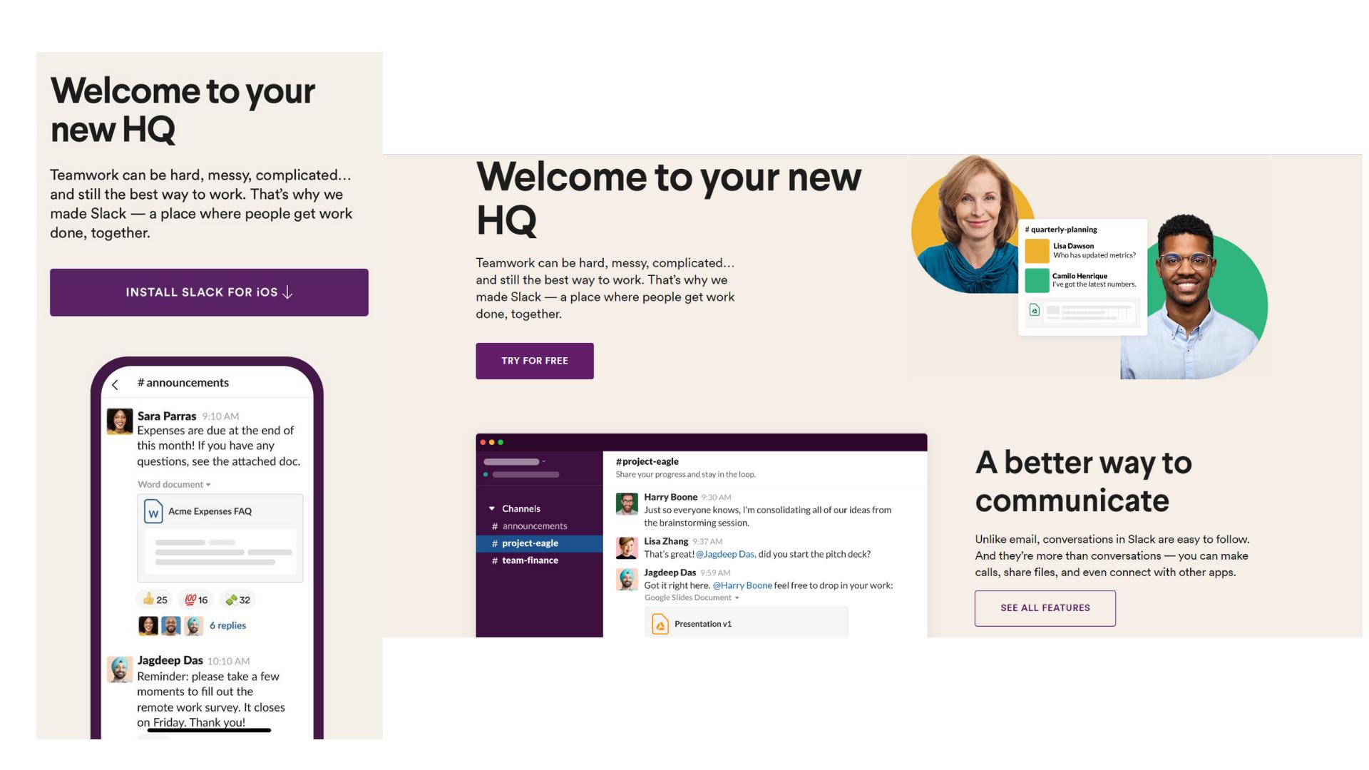 responsive Slack's homepage design