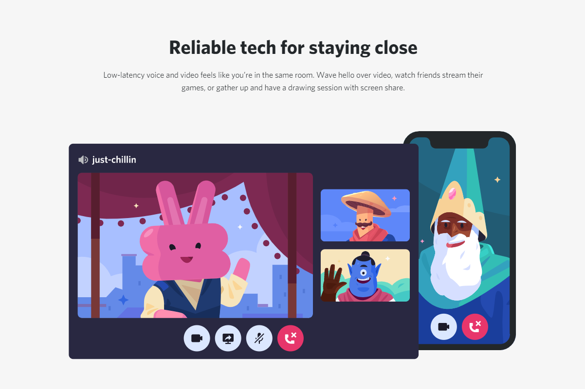 Discord web design: visuals and animations