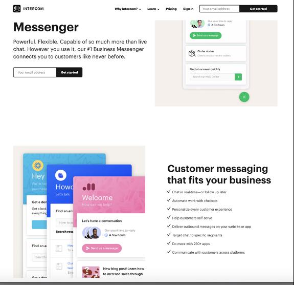 intercome messanger page design