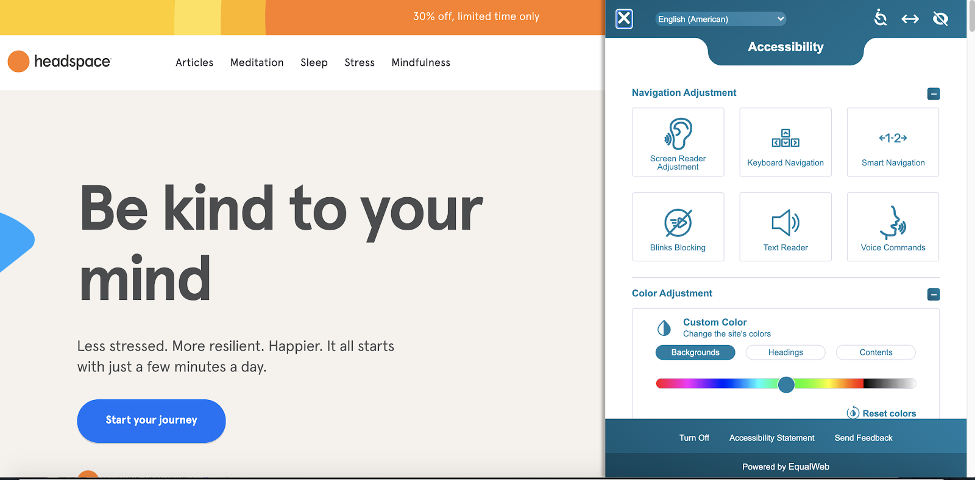 headspace main page design