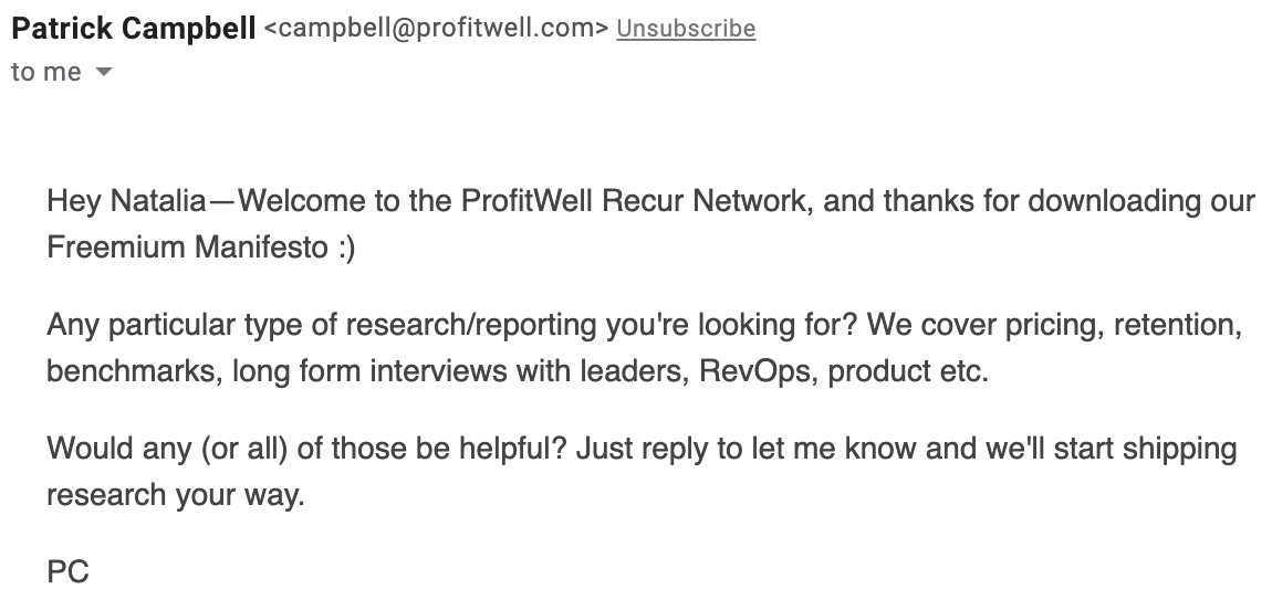profitwell marketing email triggered by an automatically set event
