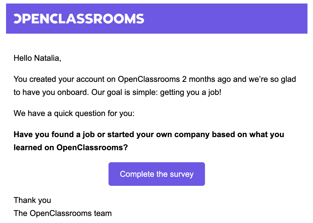 openclassrooms customer survey saas email template