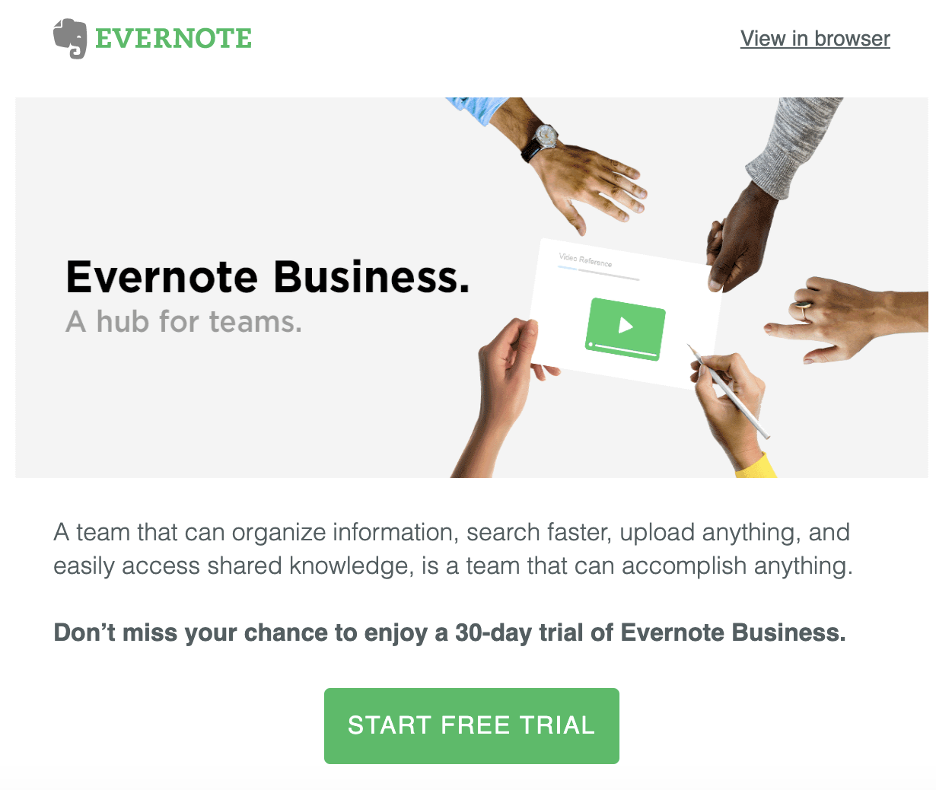evernote free trial saas email template