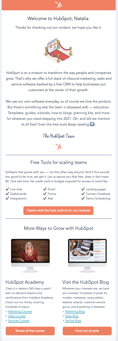 hubspot welcome saas email template