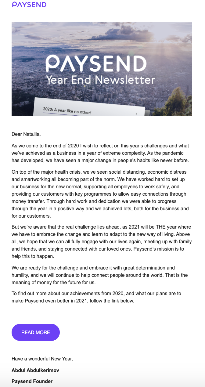 paysend saas newsletter template