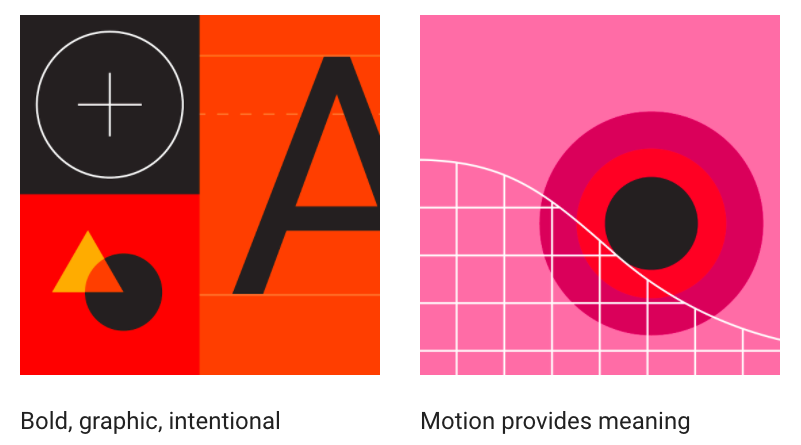Bold, graphic, intentional. Motion provdes meaning