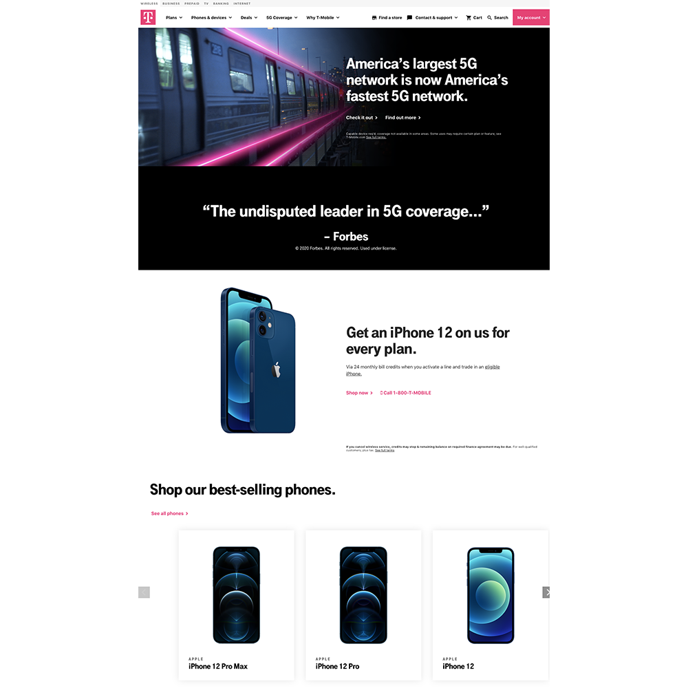 T-Mobile landing page developed with Angular Material