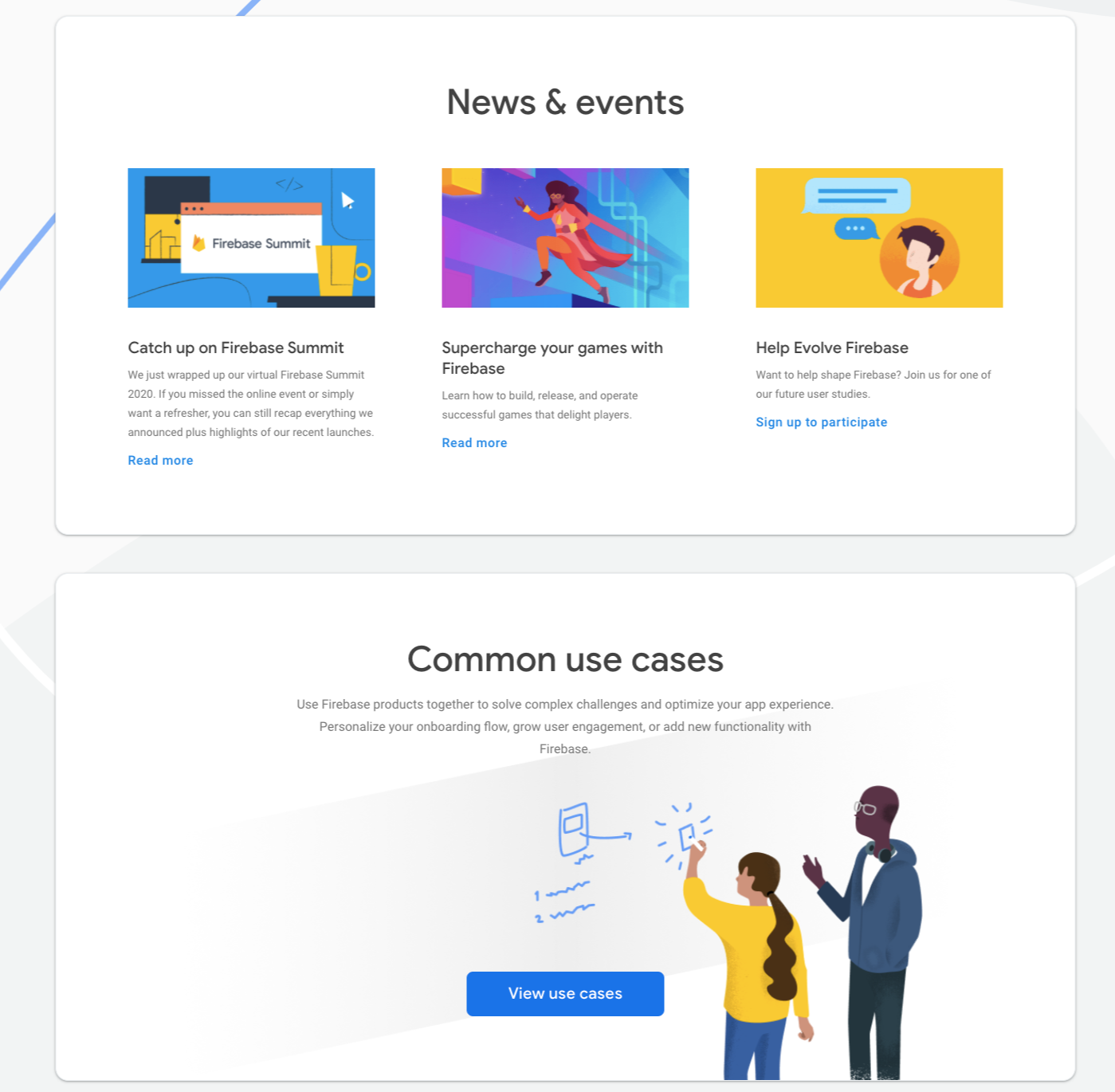 Firebase landing page developed with Angular Material