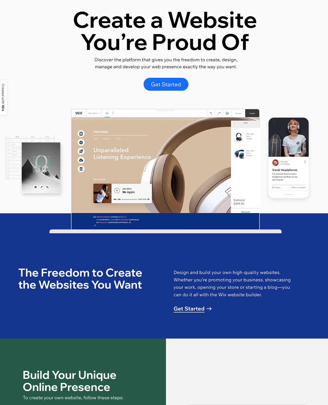 Wix landing page developed with Angular Material