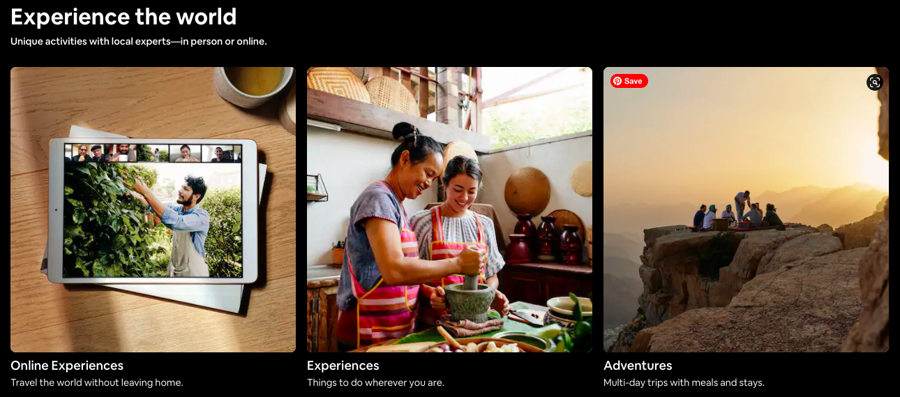 Airbnb value proposition. Experience the world. Unique activities with local experts - in person or online.