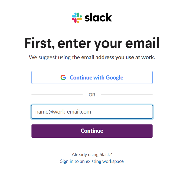 Slack sign-up process