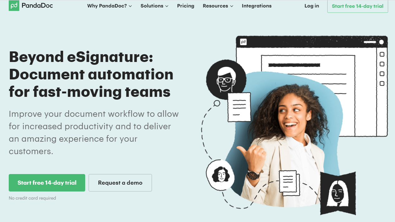 Perfect B2B SaaS landing pages example from PandaDoc