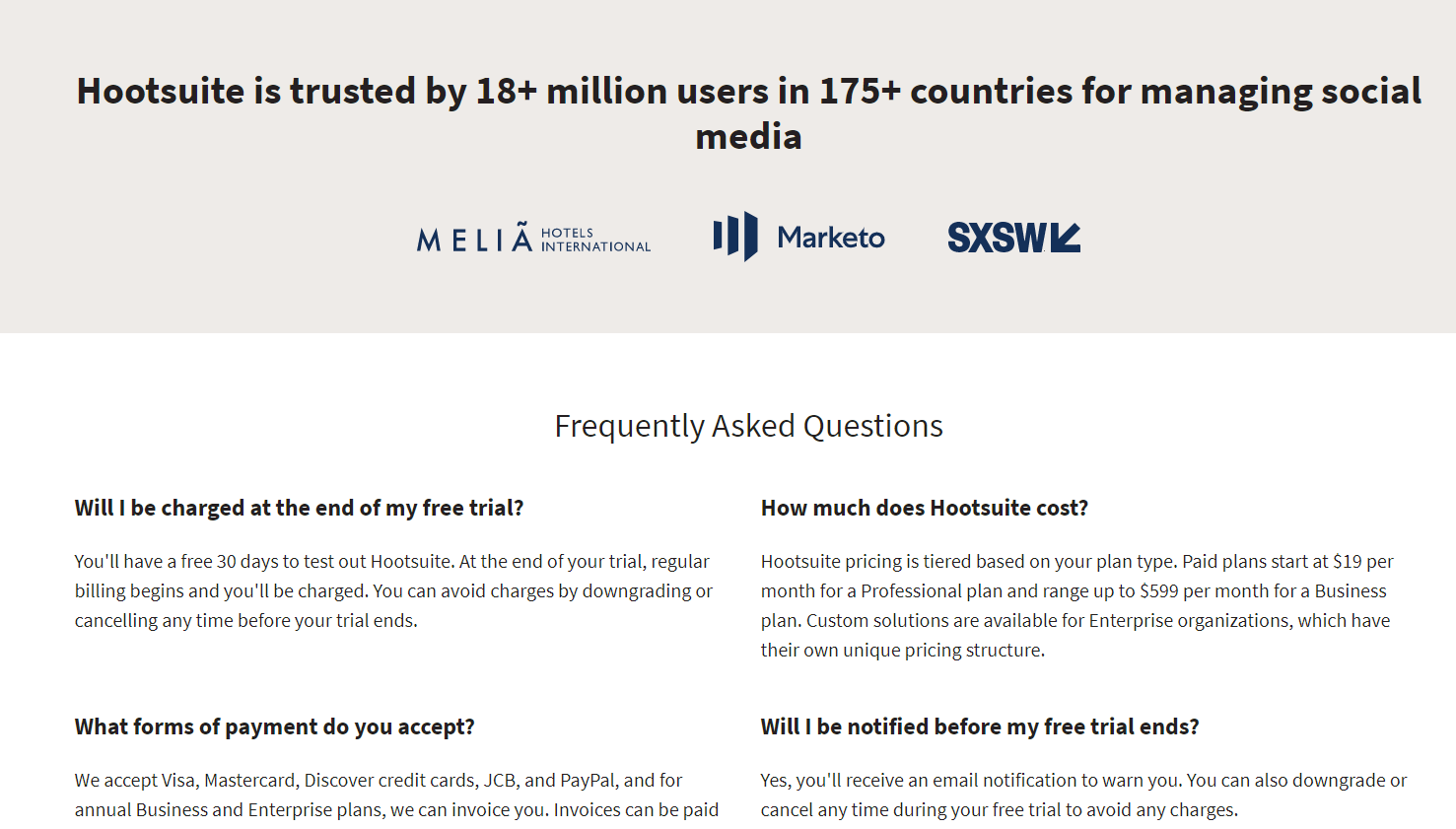 Frequently asked questions on SaaS pricing page