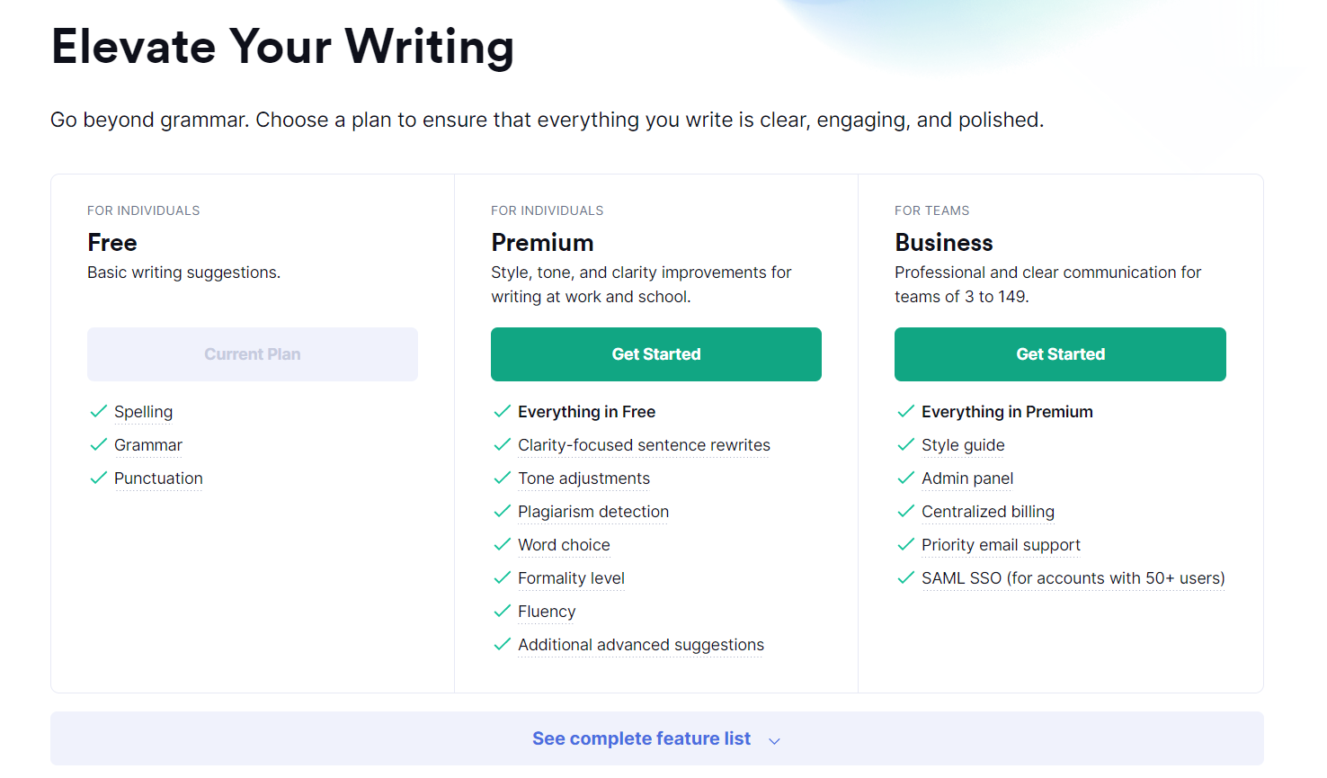 How to show your value proposition on the SaaS pricing page? Grammarly pricing page design