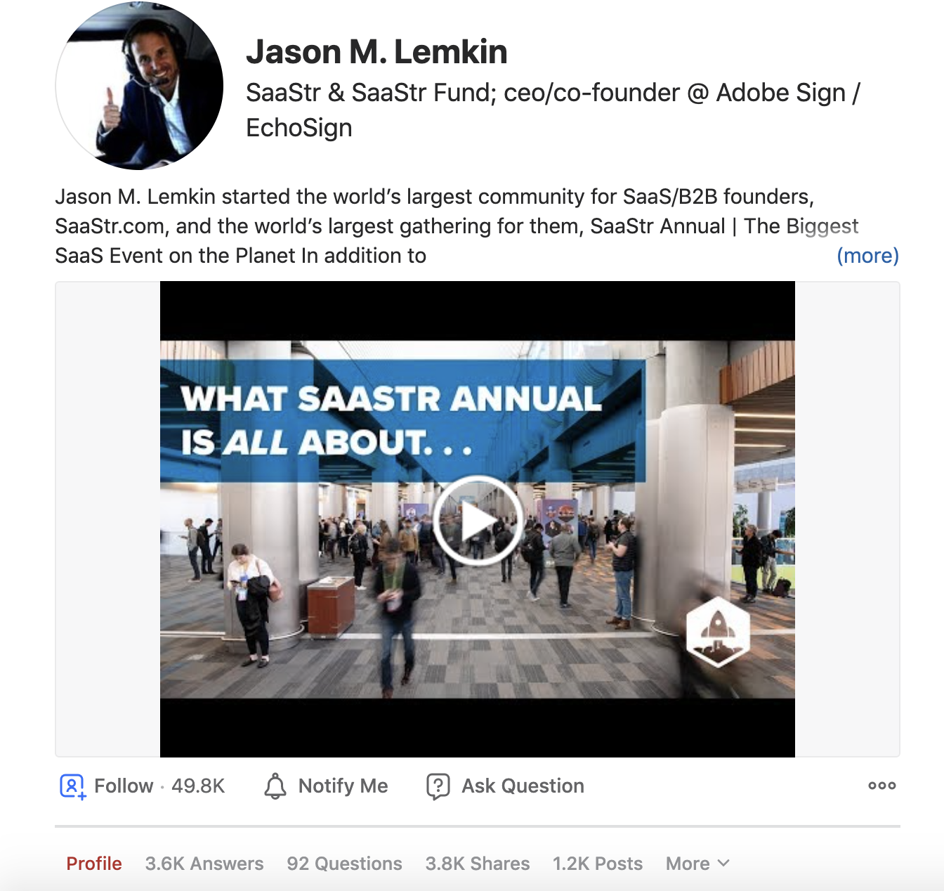 you should be active on Quora like Jason Lemkin, a SaaStr founder, gathered 49.800 folowers on Quora and attracted leads to his company