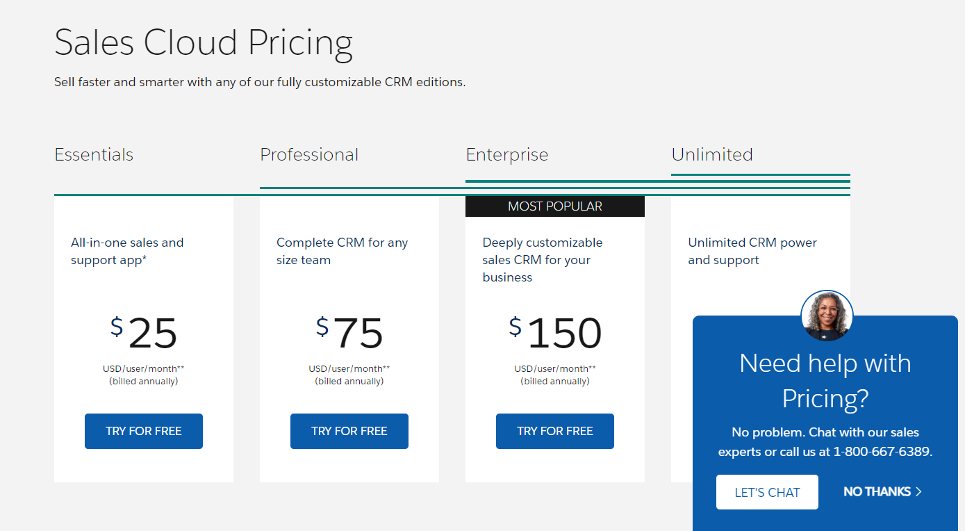 Salesforce Sales Cloud pricing page example