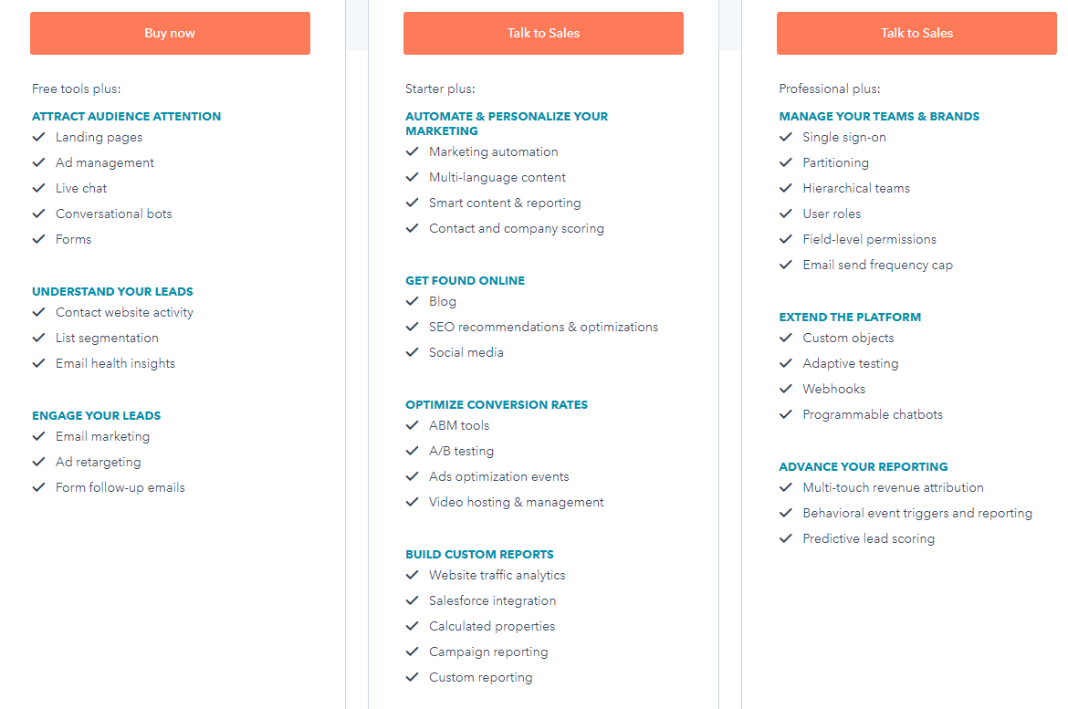 extended feature list in Hubspot pricing