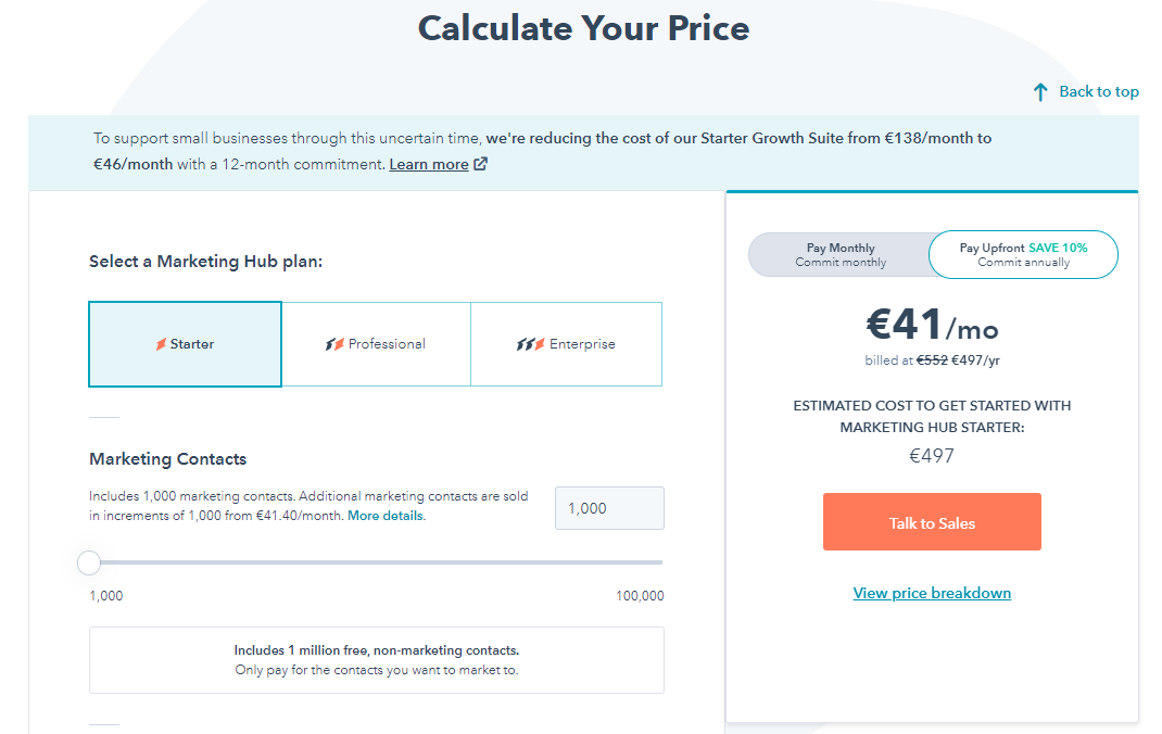 the possibility to calculate your exact price for Hubspot service using online calculator